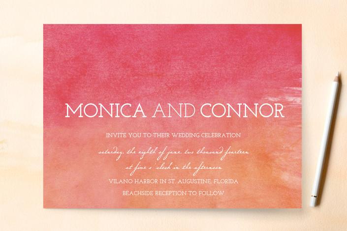 """Watercolor Sky"" - Beach Print-it-yourself Wedding Invitations in Mango Tango by AJCreative."