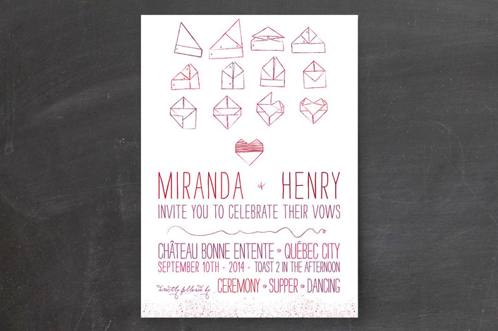 """""""Origami Heart"""" - Hand Drawn Print-it-yourself Wedding Invitations in Oxblood by Cycling Pear."""