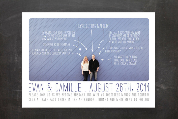 """""""Timeline of Events"""" - Whimsical & Funny, Modern Print-it-yourself Wedding Invitations in Indigo by Bethany Anderson."""