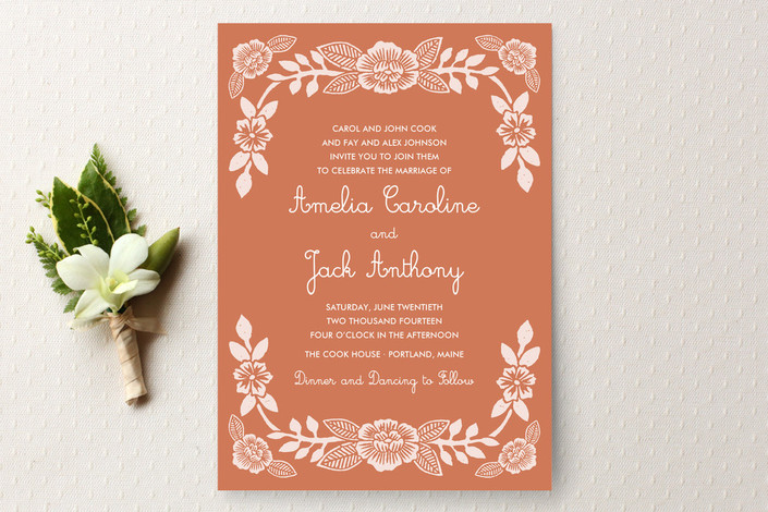 """Block Printed Floral"" - Floral & Botanical Print-it-yourself Wedding Invitations in Coral by Katharine Watson."
