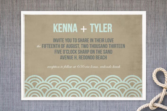 """Beach Bums"" - Modern, Beach Print-it-yourself Wedding Invitations in Seafoam by trbdesign."