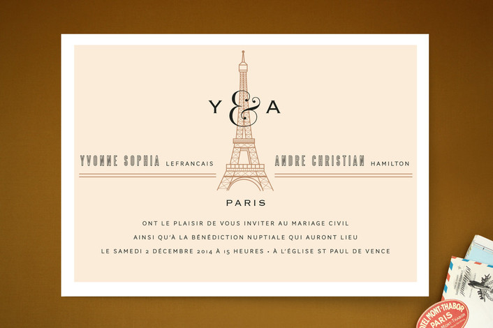 """Classic Eiffel Tower"" - Vintage, Destination Print-it-yourself Wedding Invitations in Café Au Lait by cambria."