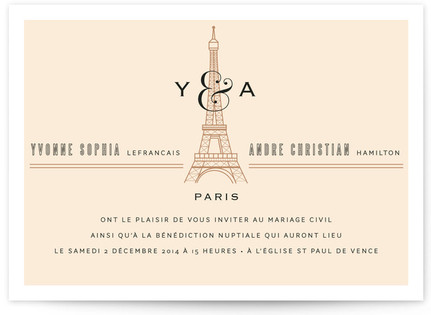 Classic Eiffel Tower Print-It-Yourself Wedding Invitations