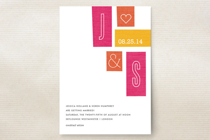 """Jet Set"" - Modern, Bold typographic Print-it-yourself Wedding Invitations in Grapefruit by cambria."