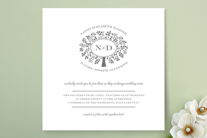 """Wedding Boughs"" - Monogrammed, Vintage Print-it-yourself Wedding Invitations in Platinum by Kimberly Morgan."