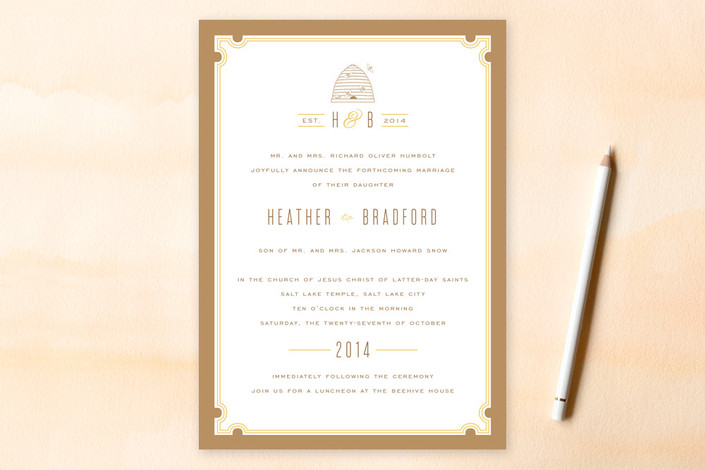 """""""Sweet Honey"""" - Bold typographic, Modern Print-it-yourself Wedding Invitations in Honey by cambria."""