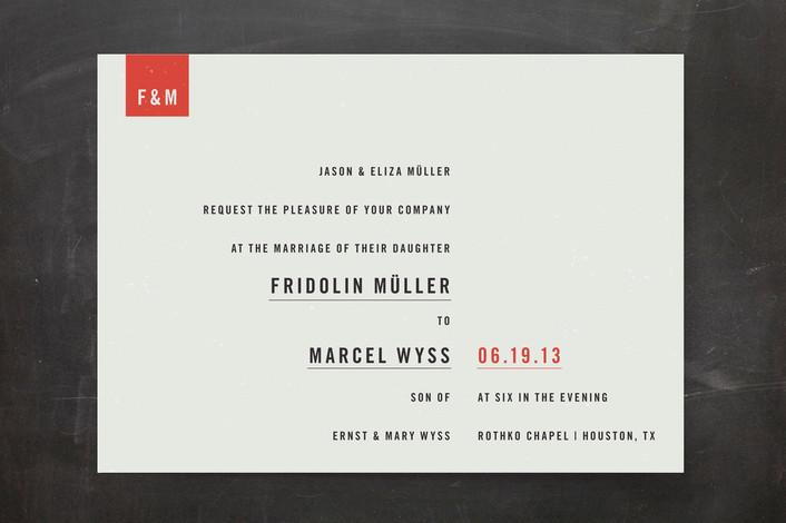"""Modern"" - Modern, Simple Print-it-yourself Wedding Invitations in Slate by Tyler Tea."