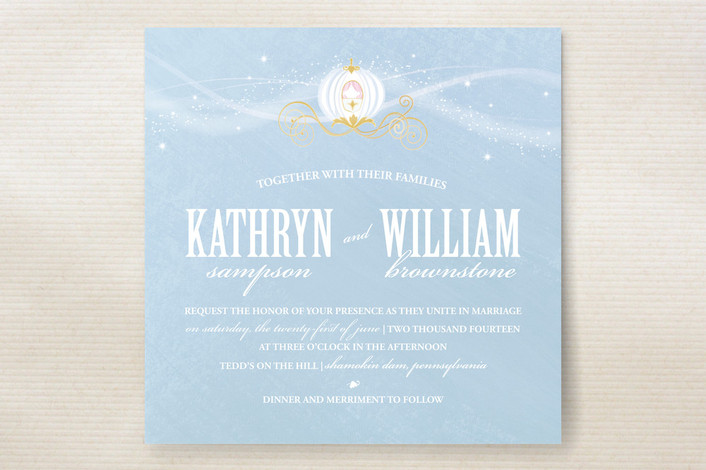 """""""Cinderella"""" - Whimsical & Funny Print-it-yourself Wedding Invitations in Sky Blue by Jacqueline Dziadosz."""
