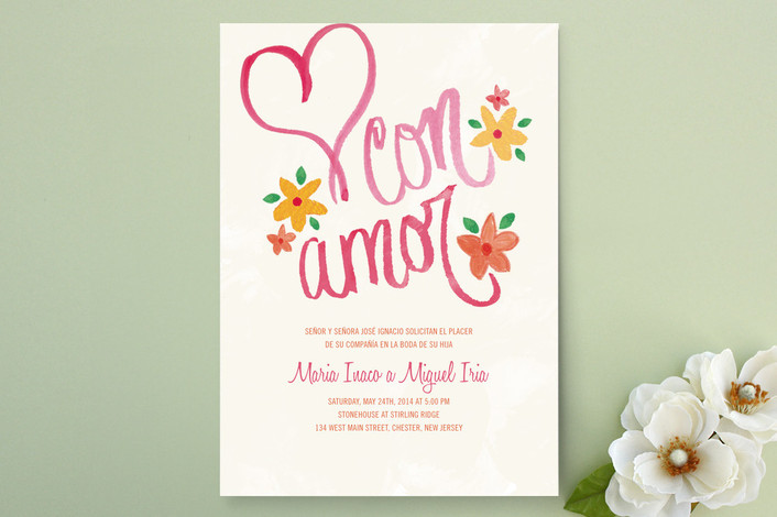 """""""Con Amor Hand Painted"""" - Destination, Floral & Botanical Print-it-yourself Wedding Invitations in Rose by Jen Serafini."""