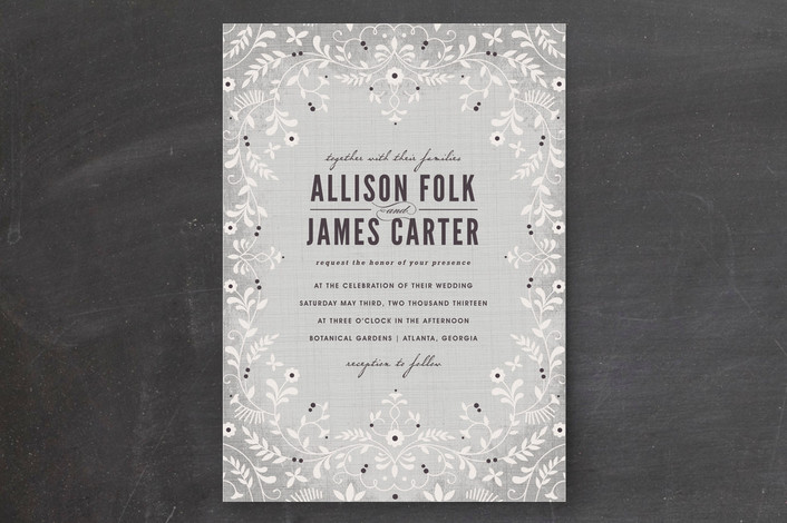 """""""A Midsummer Night's Dream"""" - Floral & Botanical Print-it-yourself Wedding Invitations in Grey by Kristen Smith."""
