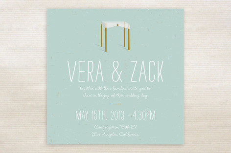 """Chuppah"" - Modern Print-it-yourself Wedding Invitations in Frost by June Letters Studio."