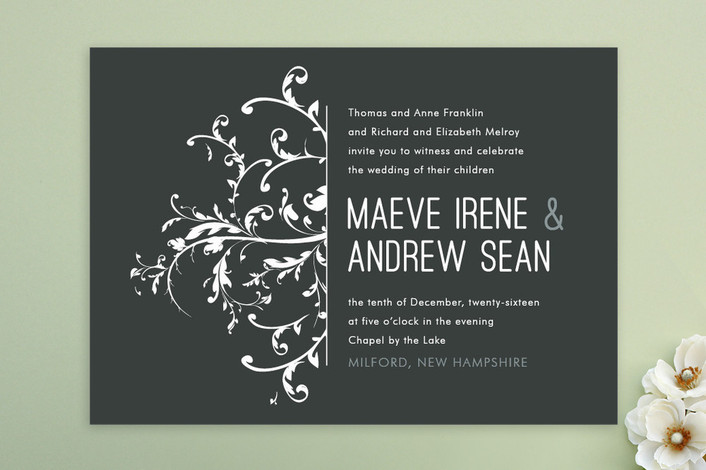 """Falling Vines"" - Classical, Winery Print-it-yourself Wedding Invitations in Charcoal by R studio."