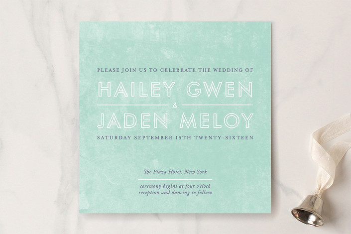 """""""Just What You Need"""" - Simple Print-it-yourself Wedding Invitations in Seafoam Green by R studio."""