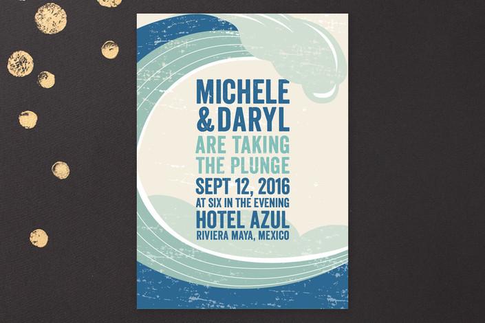 """Taking The Plunge"" - Modern, Beach Print-it-yourself Wedding Invitations in Seafoam by Erin Deegan."