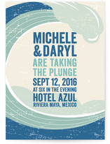 This is a blue diy wedding invitation by Erin Deegan called Taking The Plunge with standard printing on digital paper in digital.