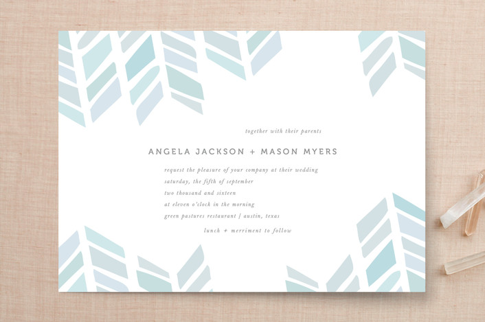 """Arrow Head"" - Modern Print-it-yourself Wedding Invitations in Sky by Fig and Cotton."