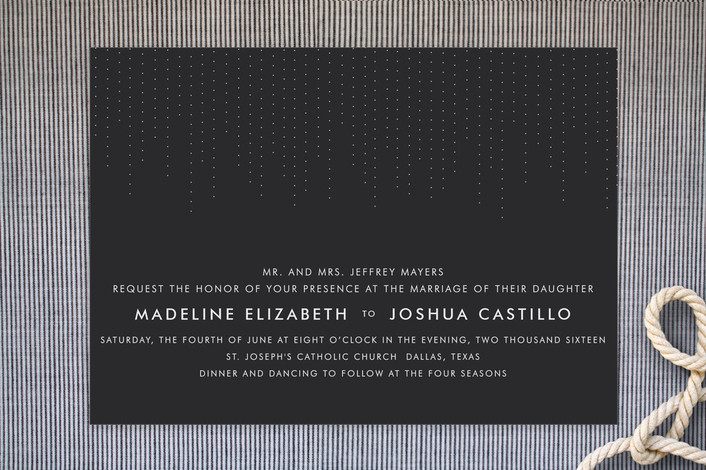 """""""Starlit Nights"""" - Simple Print-it-yourself Wedding Invitations in Charcoal by Fig and Cotton."""