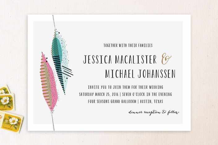 """""""Art Quill"""" - Modern Print-it-yourself Wedding Invitations in Salmon by Rebecca Bowen."""