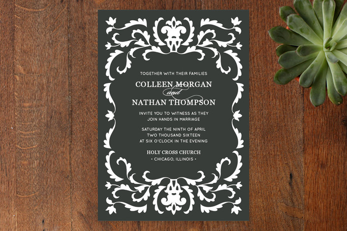 """Jacquard"" - Classical, Formal Print-it-yourself Wedding Invitations in Ebony by Laura Hankins."