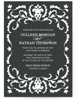 This is a black diy wedding invitation by Laura Hankins called Jacquard with standard printing on digital paper in digital.