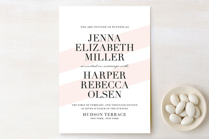 """United as One"" - Modern, Simple Print-it-yourself Wedding Invitations in Blush by Lauren Chism."