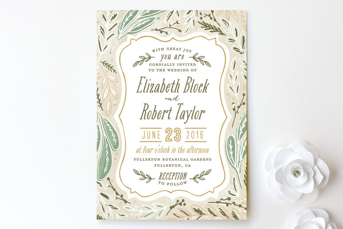 """Herb Garden"" - Rustic, Floral & Botanical Print-it-yourself Wedding Invitations in Earth by Alethea and Ruth."