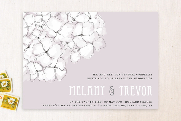 """""""Sweet Hydrangea"""" - Floral & Botanical Print-it-yourself Wedding Invitations in Lilac by R studio."""