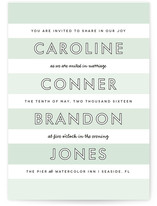 This is a green diy wedding invitation by Lauren Chism called Read Between the Lines with standard printing on digital paper in digital.
