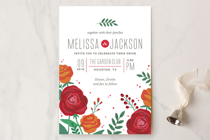 """Bold Florals"" - Floral & Botanical Print-it-yourself Wedding Invitations in Scarlet by Kristen Smith."