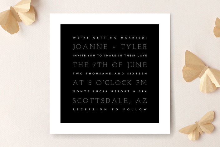 """""""Hip To Be Square"""" - Simple Print-it-yourself Wedding Invitations in Midnight by Design Lotus."""