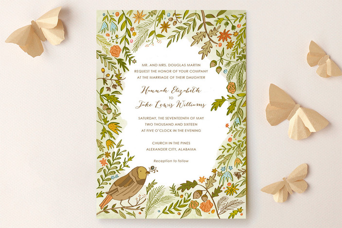 """""""The Whimsical Outdoors"""" - Floral & Botanical, Rustic Print-it-yourself Wedding Invitations in Forest by Kara Anne Paper."""