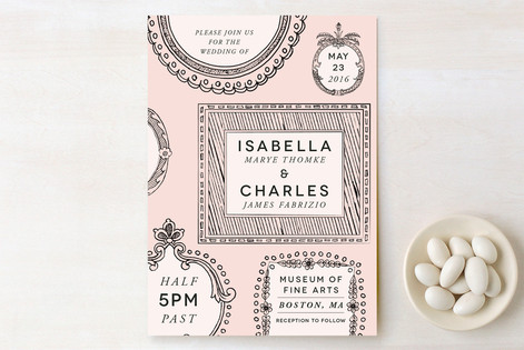 """""""Framed Union"""" - Vintage Print-it-yourself Wedding Invitations in Blush by 24th and Dune."""