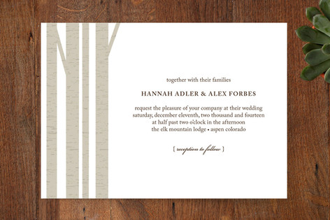 """""""Winter Birch"""" - Modern Print-it-yourself Wedding Invitations in Feather by Marabou Design."""