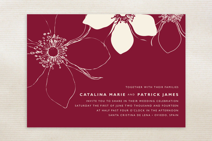 """Modern Lotus"" - Floral & Botanical Print-it-yourself Wedding Invitations in Sangria by Milkmaid Press."
