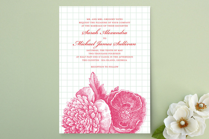 """""""Bibliotheque"""" - Floral & Botanical Print-it-yourself Wedding Invitations in Bright Magenta by beth perry DESIGN."""