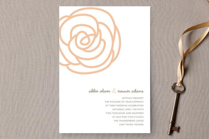 """""""Bloom"""" - Floral & Botanical Print-it-yourself Wedding Invitations in Peach by Sydney Newsom."""
