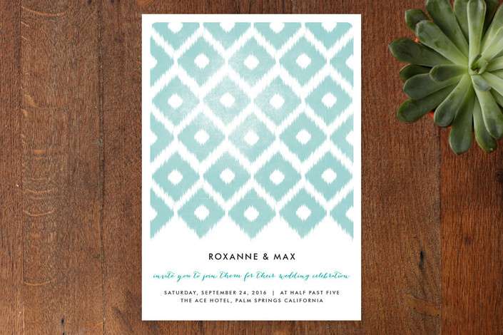 """Fresh iKat"" - Modern Print-it-yourself Wedding Invitations in Teal by Alethea and Ruth."