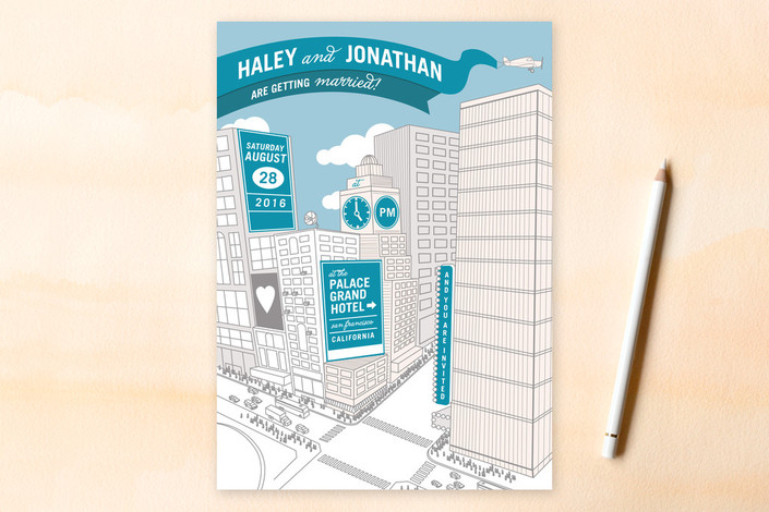 """Citywide Declaration"" - Whimsical & Funny, Destination Print-it-yourself Wedding Invitations in Teal by bumble ink."