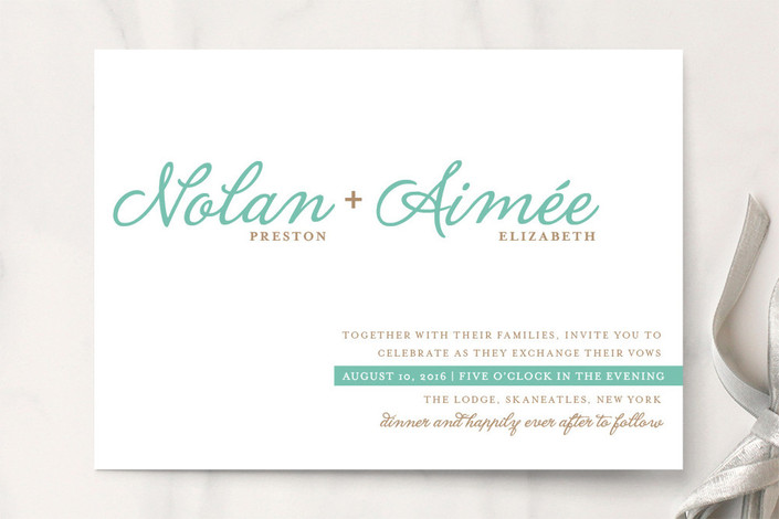 """""""Raising the Bar"""" - Modern, Simple Print-it-yourself Wedding Invitations in Turquoise by R studio."""