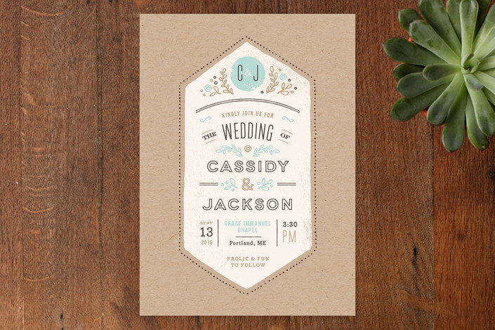 """""""Cartwright"""" - Floral & Botanical, Rustic Print-it-yourself Wedding Invitations in Sea by Jennifer Wick."""