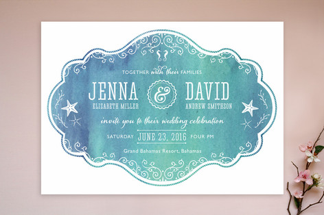 """""""Splash of Paradise"""" - Beach Print-it-yourself Wedding Invitations in Caribbean by Paige Rothhaar."""