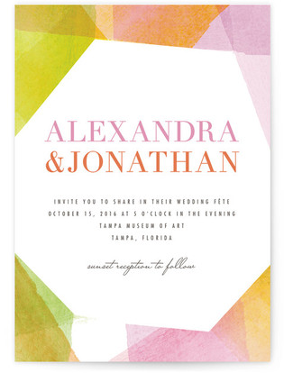 Geometric Watercolor Print-It-Yourself Wedding Invitations