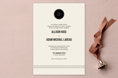"""Eternity"" - Simple, Classical Print-it-yourself Wedding Invitations in Black by Milkmaid Press."