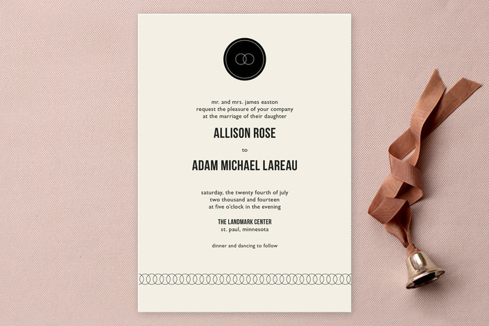 """""""Eternity"""" - Simple, Classical Print-it-yourself Wedding Invitations in Black by Milkmaid Press."""