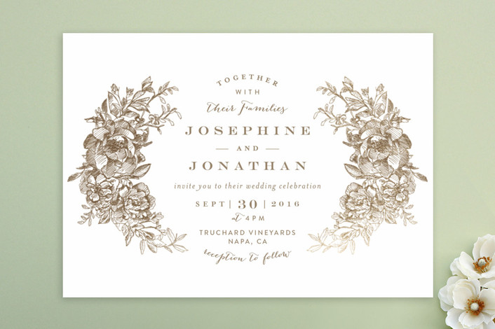 """Engraved Flowers"" - Print-it-yourself Wedding Invitations in Latte by Phrosne Ras."