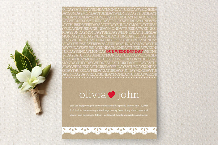 """""""Our Wedding Day"""" - Rustic, Vintage Print-it-yourself Wedding Invitations in Cherry by sweet street gals."""