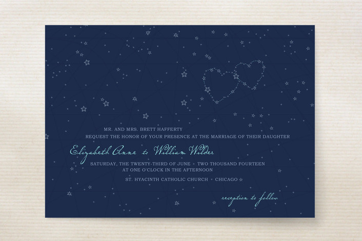 """Star Map"" - Rustic, Whimsical & Funny Print-it-yourself Wedding Invitations in Night Sky by 2birdstone."