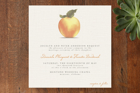 """Apple Harvest"" - Modern, Simple Print-it-yourself Wedding Invitations in Burlap by Bourne Paper Co.."