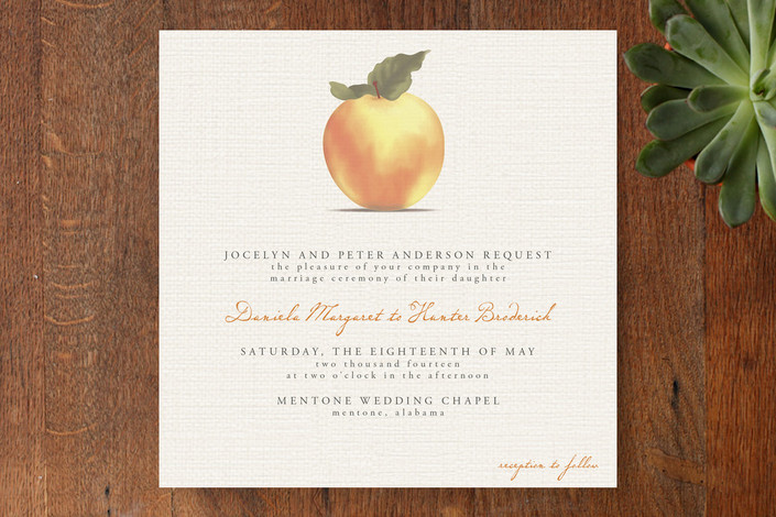 """Apple Harvest"" - Simple, Hand Drawn Print-it-yourself Wedding Invitations in Burlap by Bourne Paper Co.."