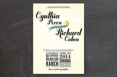 """""""Vintage Ranch"""" - Winery, Bold typographic Print-it-yourself Wedding Invitations in Aqua by Andres Montaño."""
